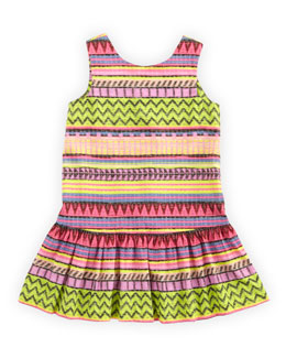 Milly Minis Raffia-Print Drop-Waist Dress, Multi, Sizes 8-10