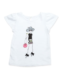 Milly Minis Milly Girl Flutter-Sleeve Tee, White, Sizes 8-10