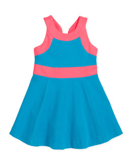 Milly Minis Ponte Circle Sleeveless Dress, Aqua/Pink, Sizes 8-10