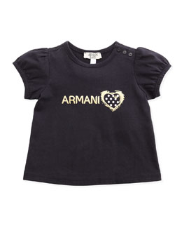 Armani Junior Puffed Sleeve Logo Tee, 3-24 Months