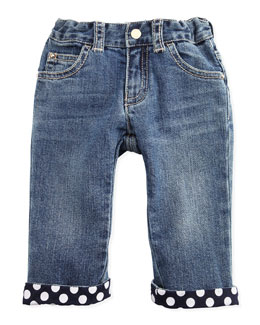 Armani Junior Denim Jeans with Polk-Dot Cuffs, 3-24 Months