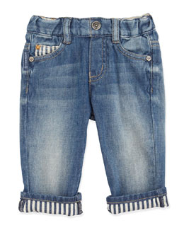 Armani Junior Distressed Stone-Wash Jeans, 3-24 Months