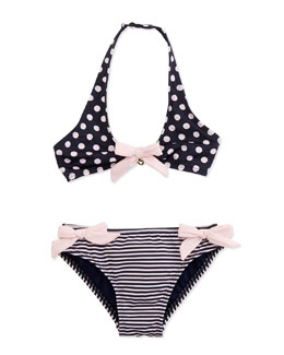 Armani Junior Stripe & Polka-Dot Two-Piece Swimsuit, Sizes 2-8