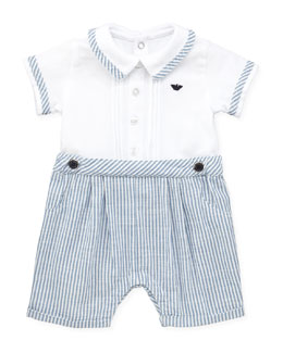 Armani Junior Seersucker One-Piece Shortall, White, 1m-12m