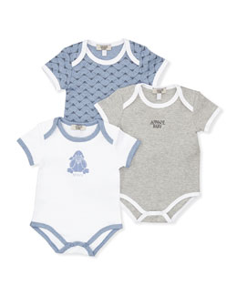 Armani Junior Three-Piece Playsuit Gift Set, 1m-12m