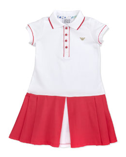 Armani Junior Colorblock Tennis Dress, Pink/White
