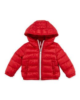 Moncler Dominic Stripe-Front Hooded Jacket, Red, 3-24 Months