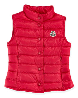 Moncler Liane Long Season Packable Vest, Fuchsia, Sizes 2-6