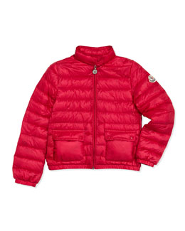 Moncler Lans Quilted Tech Jacket, Fuchsia, Sizes 8-10