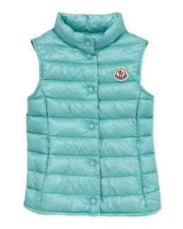 Moncler Liane Long Season Packable Vest, Turquoise, Sizes 8-10