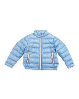 Moncler Rigel Stripe-Placket Packable Jacket, Light Blue, Sizes 2-6