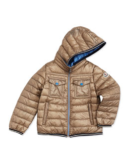 Moncler Clovis Long-Season Packable Jacket, Tan, Sizes 2-6