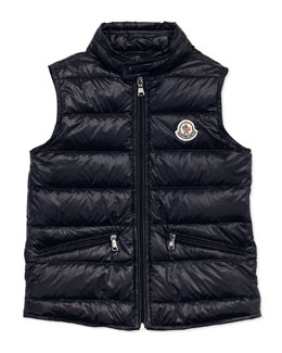 Moncler Gui Lightweight Puffer Vest, Navy, Sizes 8-10