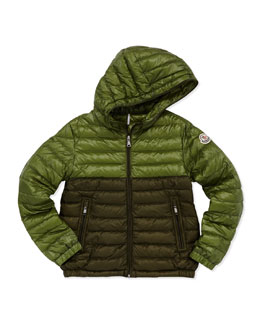 Moncler Emeric Long Season Packable Jacket, Dark Green, Sizes 8-10