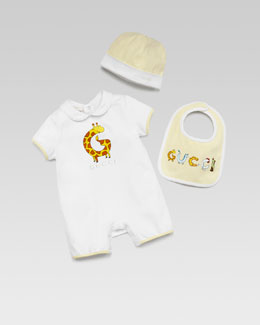 Gucci Playsuit, Hat & Bib Gift Set, White/Soft Yellow