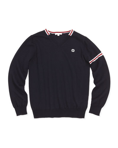 Web-Detail Pullover Sweater, Navy, 8-12
