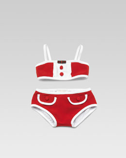 Gucci Baby Girl Two-Piece Swimsuit, Red