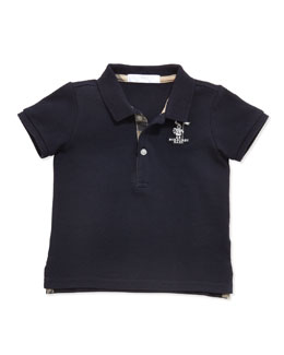 Boys' Check-Trim Polo, Navy, 2Y-3Y