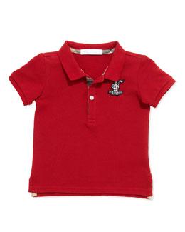 Boys' Check-Trim Polo, Red, 2Y-3Y