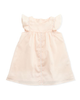 Chloe Woven Flutter-Sleeve Dress, Pale Pink, 3-18 months