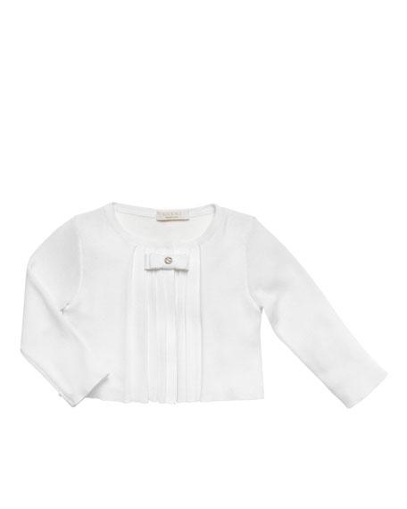 Pleated Bolero Jacket, White, 0-24 Months