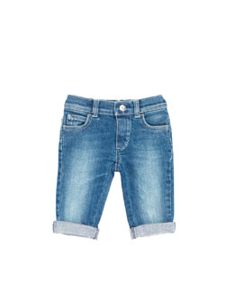 Gucci Denim Web-Detail Jeans, Gray Blue, 0-24 Months