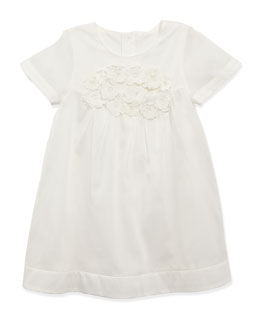 Chloe Cotton-Organdy Dress, White, Sizes 2-5