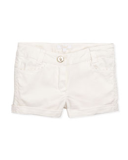 Chloe Rickrack Trimmed Cotton Shorts, White, Sizes 6-10