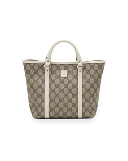 Gucci GG Supreme Canvas Kid's Tote Bag, White/Beige