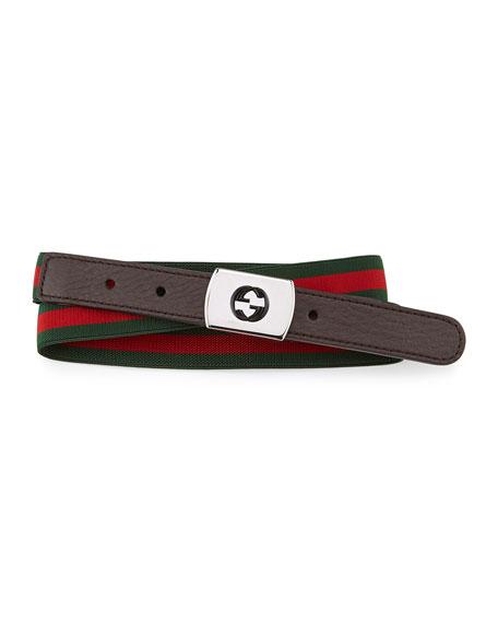 Web Plaque-Buckle Belt, Brown