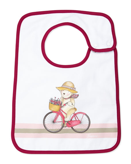 Teddy & Bicycle Baby Bib, Magenta