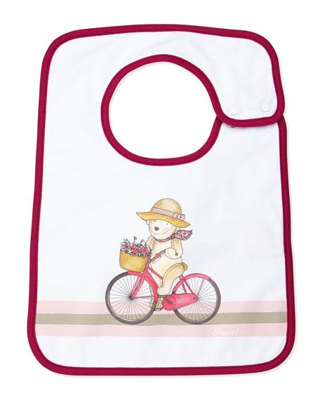 Teddy & Bicycle Baby Bib, Magenta