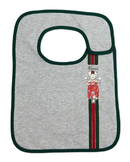Gucci Teddy Moto Bib, Gray/Green