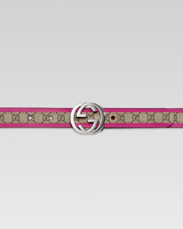 Gucci Girls' GG Leather-Trimmed Belt, Beige/Magenta