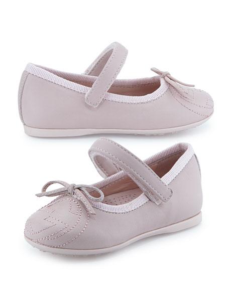 Interlocking G Leather Ballet Flat, Pink