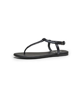 Gucci Crackled Metallic Leather Thong Sandal, Black