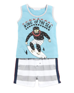 Little Marc Jacobs Boys' King of the Sea Tank & Swim Trunk Set, Blue, 3-18 Months