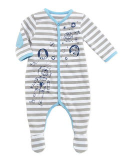Little Marc Jacobs Baby Boys' Striped Footie, Gray, 3-18 Months