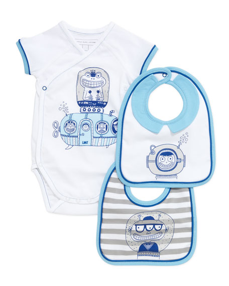 Infant Boys' Short-Sleeve Playsuit & Two-Bib Box Set