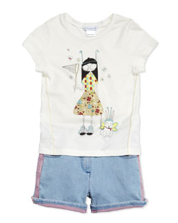 Little Marc Jacobs Butterfly Printed Short-Sleeve Jersey Tee, Sizes 6-10