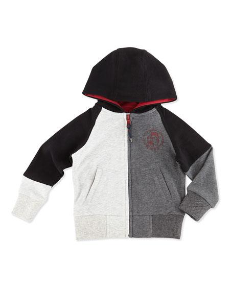 Colorblock Zip-Front Hoodie, Black/Gray, Boys' 2T-5