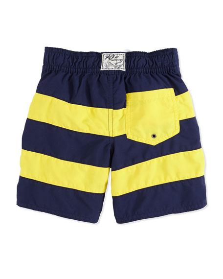 2cfd76386b3f8 Ralph Lauren Childrenswear Sanibel Pieced Swim Trunks, Navy, Boys' 4-7
