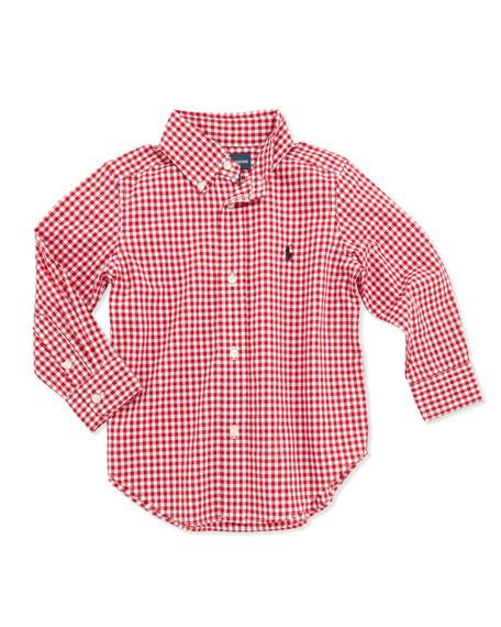 8b022dd57 Ralph Lauren Childrenswear Blake Long-Sleeve Gingham Shirt, Red, Boys' 4-7