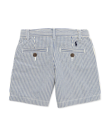 Preppy Seersucker Shorts, Blue, Boys' 4-7
