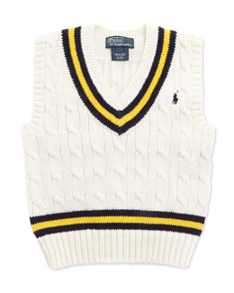 Ralph Lauren Childrenswear Cricket Cable-Knit Vest, Cream, Toddler Boys' 2T-3T