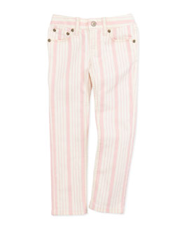 Ralph Lauren Childrenswear Stripe Bowery Skinny Jeans, Pink, Girls' 4-6X