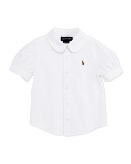 Ralph Lauren Childrenswear Short-Sleeve Oxford Shirt, White, Girls' 4-6X