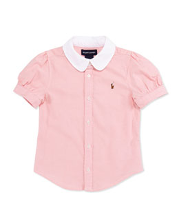 Ralph Lauren Childrenswear Short-Sleeve Oxford Shirt, Pink, Girls' 4-6X