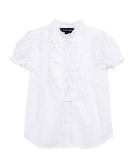 Ralph Lauren Childrenswear Ruffle-Trim Batiste Top, White, Girls' 4-6X