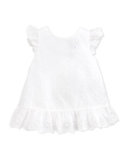 Ralph Lauren Childrenswear Little Spring Eyelet Top, White, Girls' 4-6X